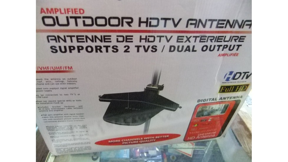Amplified outdoor digital hd tv antenna 2 outputs.