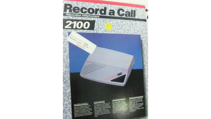 Record a Call 2100 phone answering system